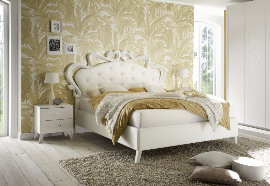 lit capitonne blanc laque moderne royale