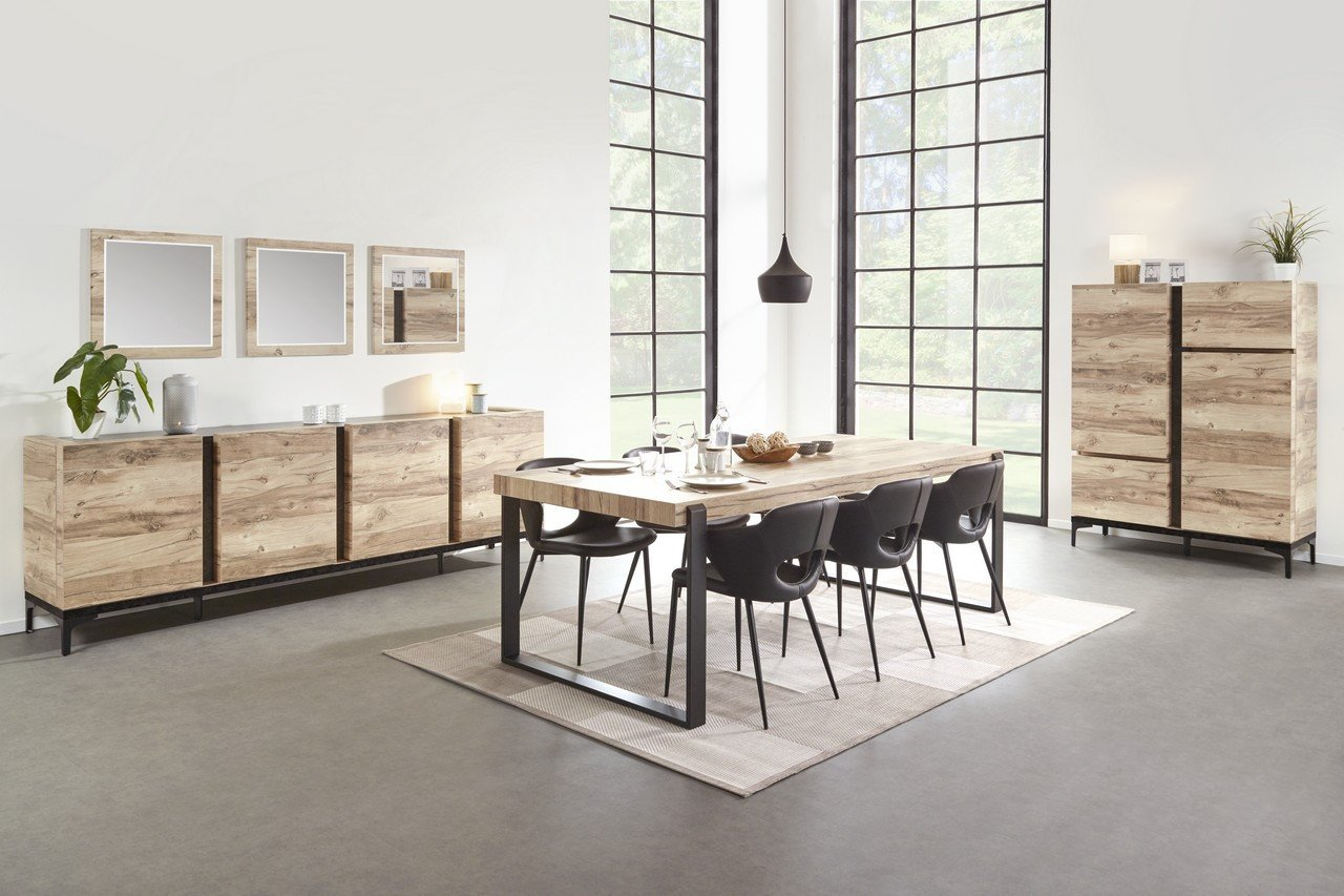 Salle à manger coloris bois et noir moderne AMBER