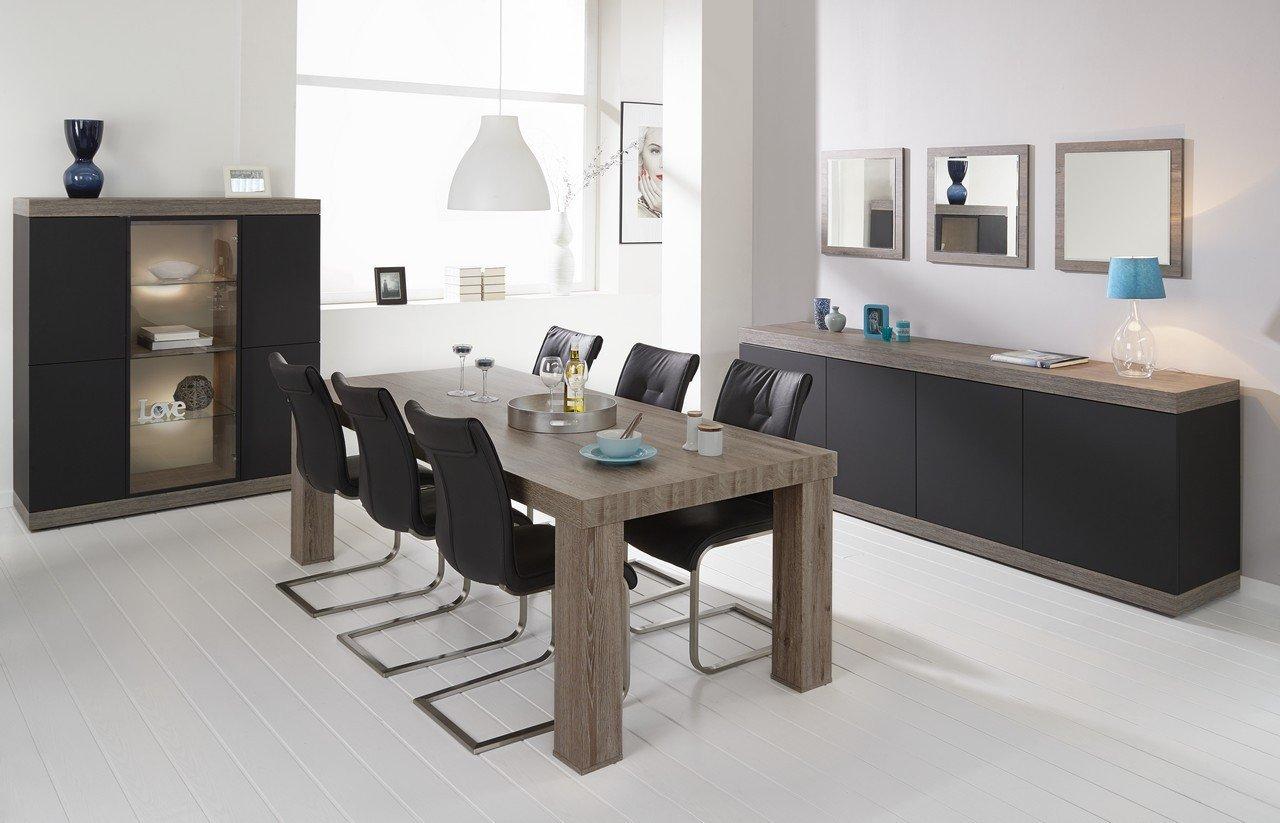 Salle à manger noire et bois moderne SPENCER