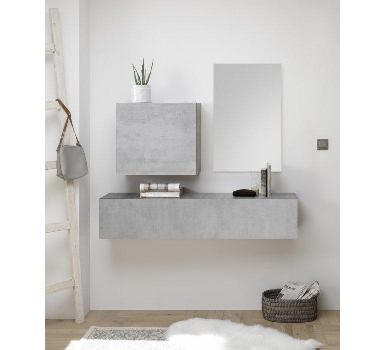 Console meuble d'entrée suspendu design gris GREY