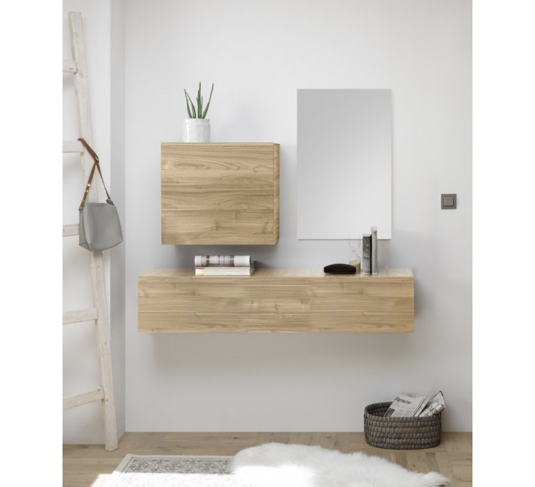 Meuble console suspendu design moderne bois clair VOGUE