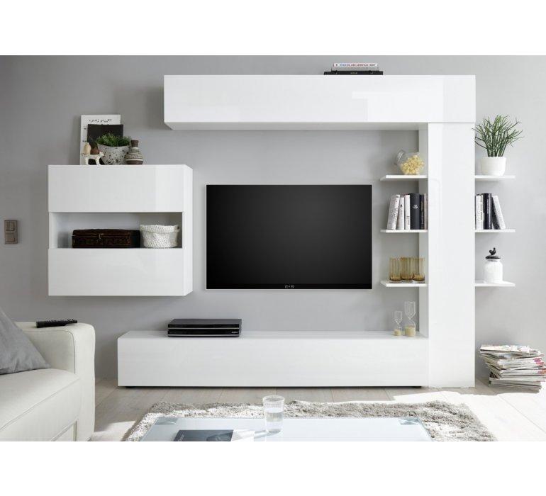 Meuble TV mural design blanc laqué LAZIO