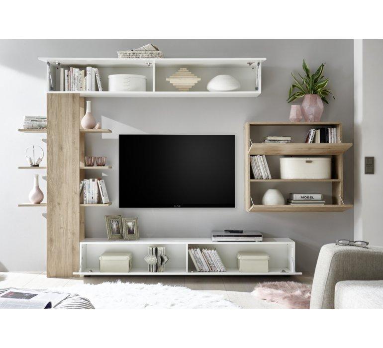 Meuble TV mural design blanc et bois MATYSSE