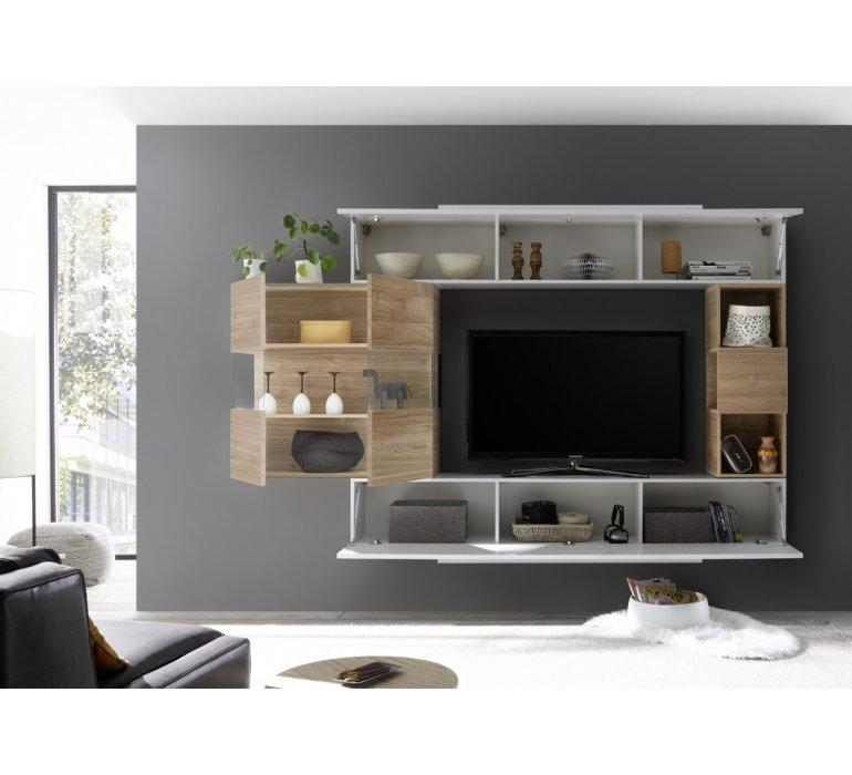 Meuble TV moderne suspendu bois et blanc laqué HARRY