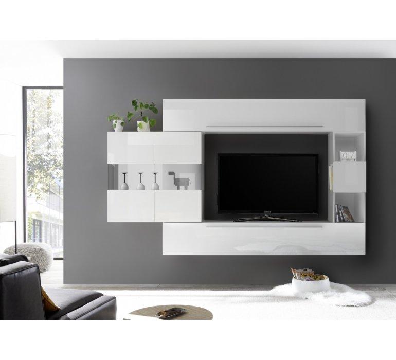 Meuble TV suspendu design blanc laqué BOLOGNA
