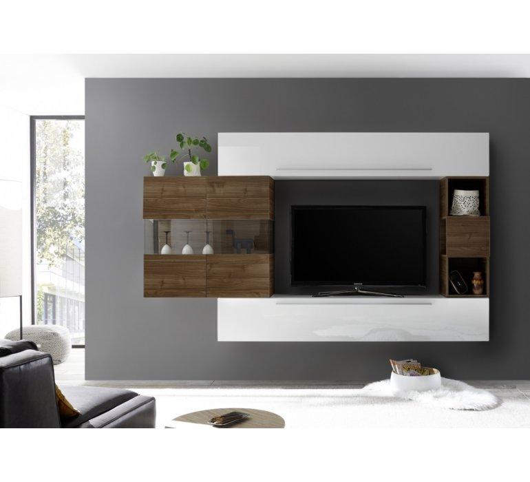Meuble TV suspendu moderne blanc et bois CHRISTIAN