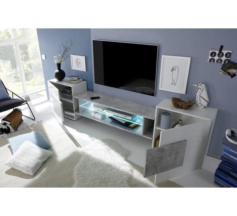 Meuble TV design blanc laqué et gris GREY