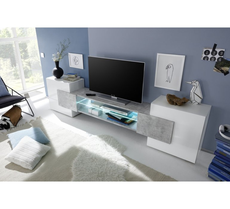 Banc Tv Blanc Laque Design 2 Portes Grey 1127