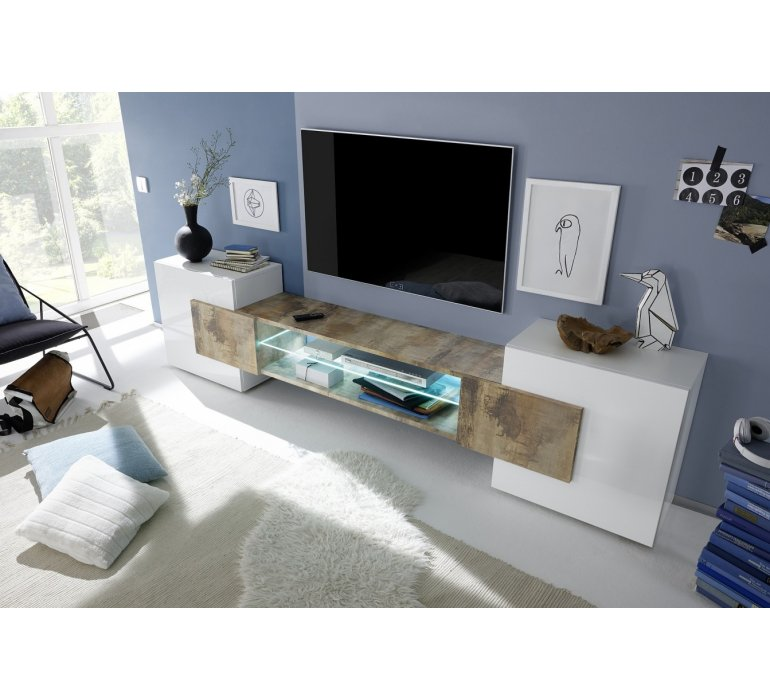 Meuble TV design blanc laqué et bois FAUVE