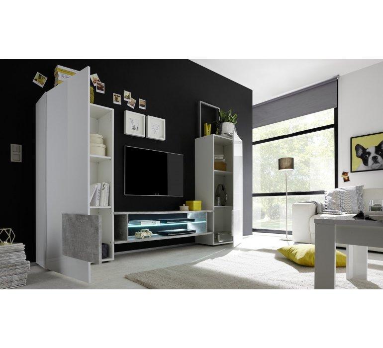 Meuble TV mural design blanc laqué et bois FAUVE