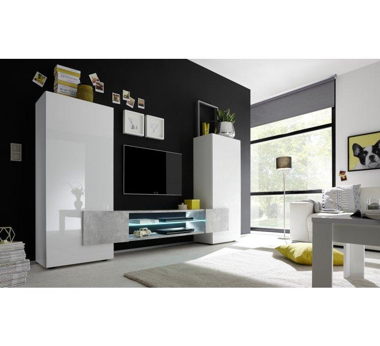 Meuble TV mural design blanc laqué et gris GREY