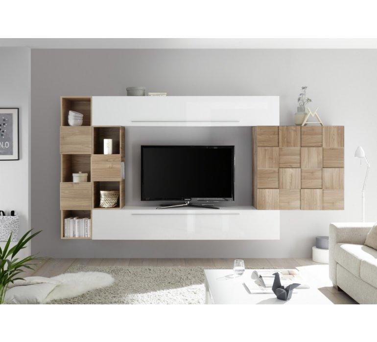 Meuble Tv Design Mural Blanc Et Bois Vogue 1134