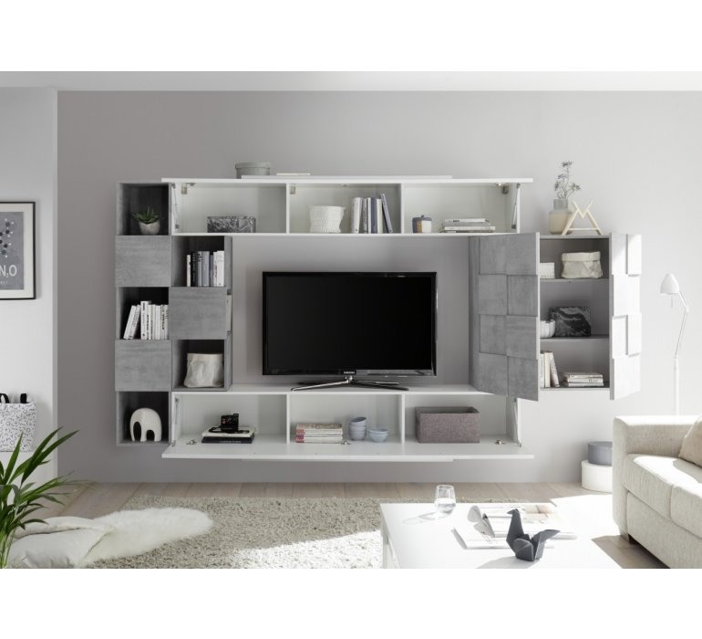 Meuble TV suspendu design blanc laqué et gris JULIO