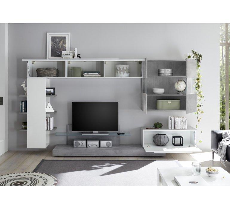 Meuble TV mural design blanc laqué et bois CHARLES