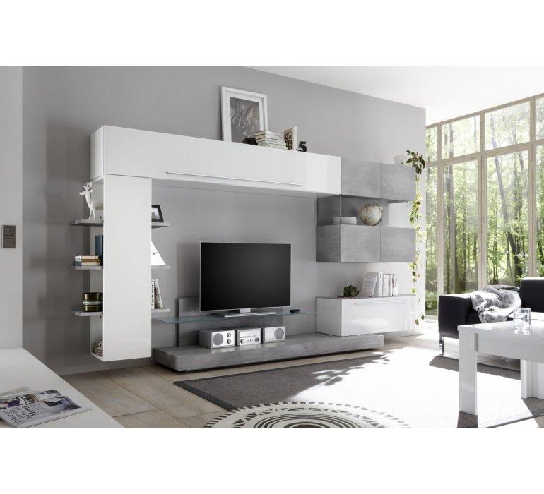 Meuble TV mural design blanc laqué et gris IRWIN