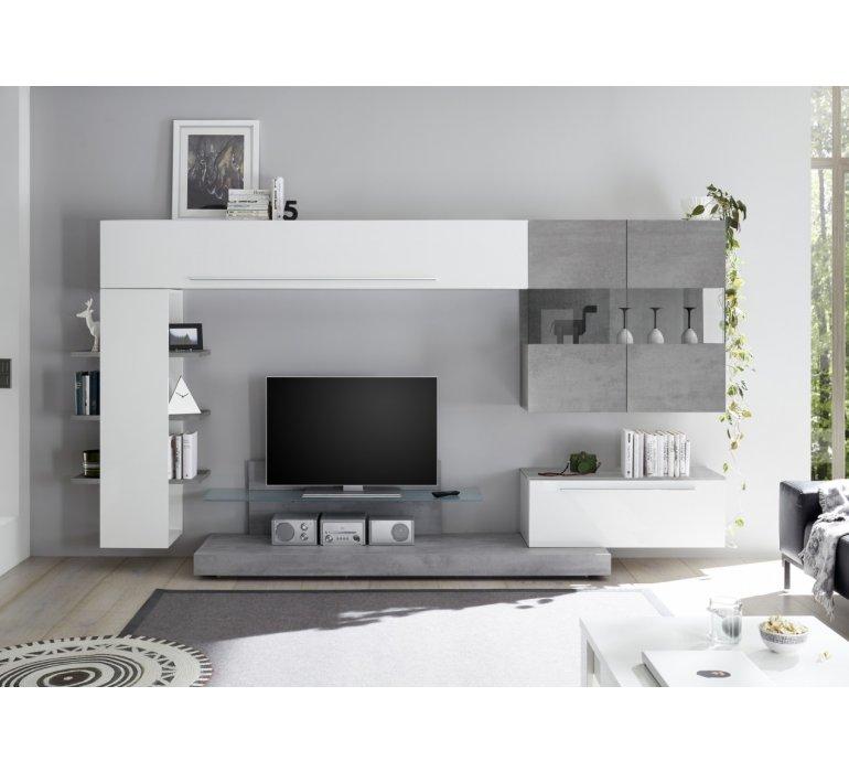 Meuble Tv Blanc Laque Et Gris Mural Design Irwin 1137