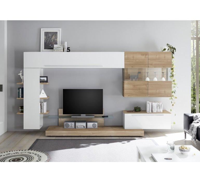 Meuble TV mural blanc laqué et bois design GEORGES