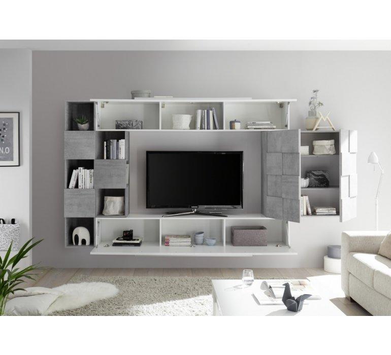 Meuble TV suspendu blanc laqué et bois design COGNAC