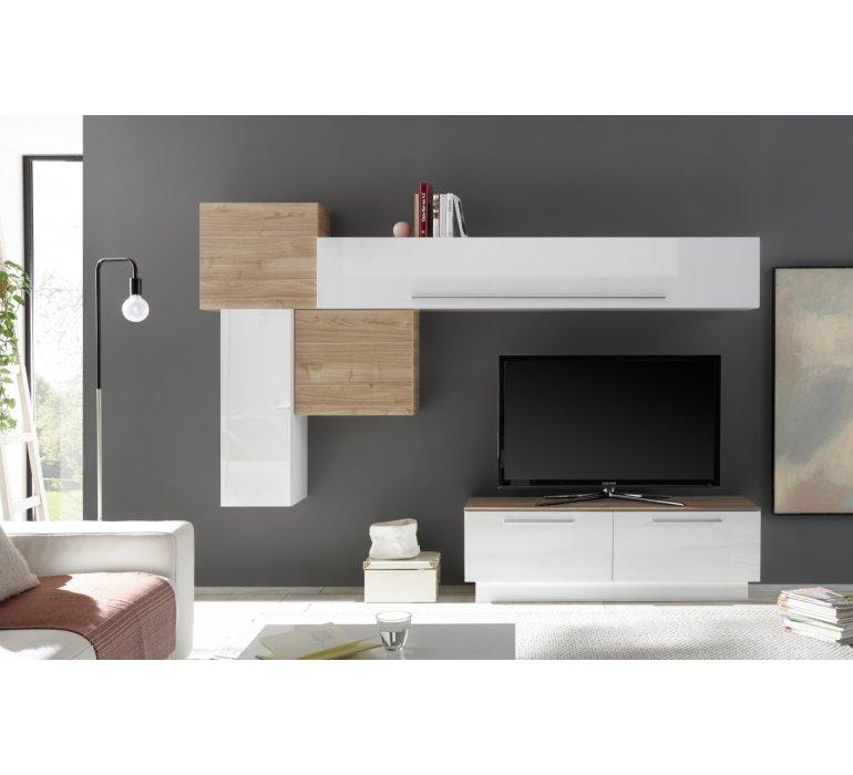 Meuble TV mural moderne blanc laqué et bois HARRY
