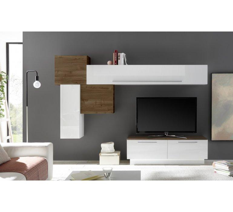 Meuble Tv Design Mural Coloris Bois Et Blanc Edgar 1141