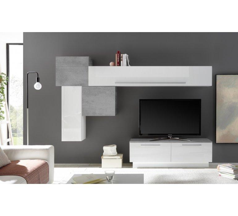 Meuble TV mural design blanc laqué et gris STONE