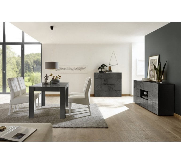 Buffet design anthracite avec motifs design MARANELLO II