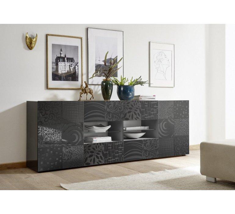 Enfilade design anthracite laqué avec motifs MARANELLO
