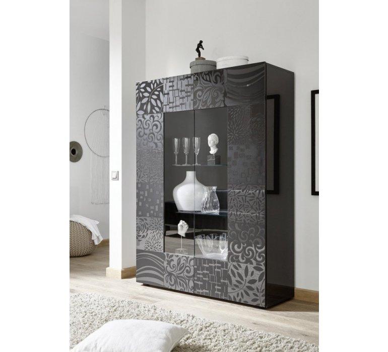 Vaisselier anthracite laqué avec motifs design MARANELLO