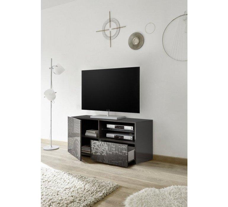 Banc TV anthracite laqué avec motif design MARANELLO