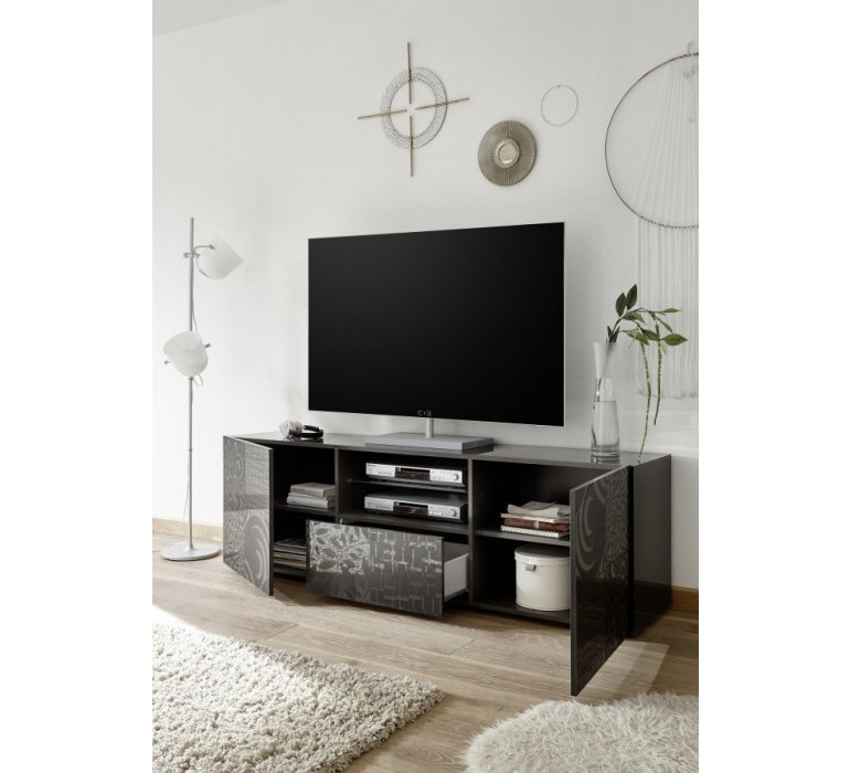 Banc TV anthracite laqué avec motifs design MARANELLO II