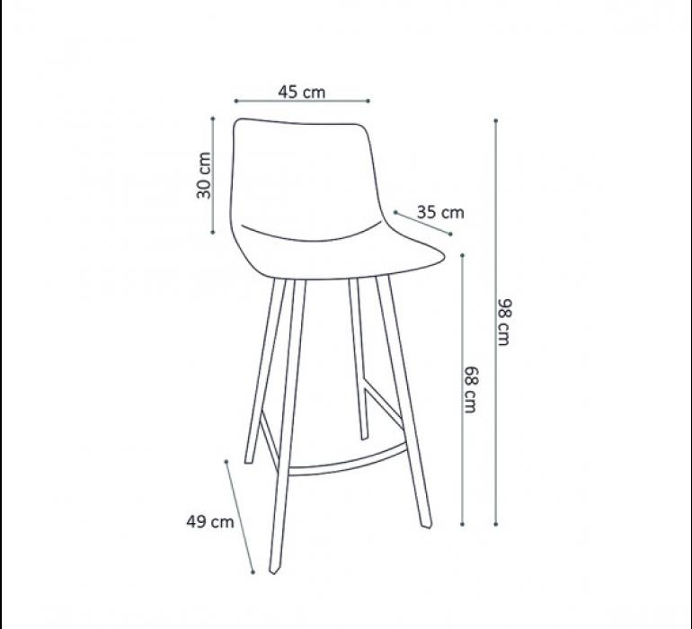 Chaise de bar marron vintage 65 cm et piétement métal HIPSTER