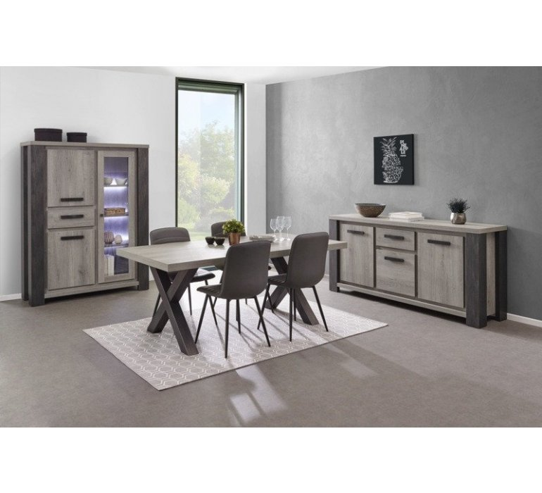 Vaisselier lumineux chêne gris clair et anthracite contemporain ALTEO