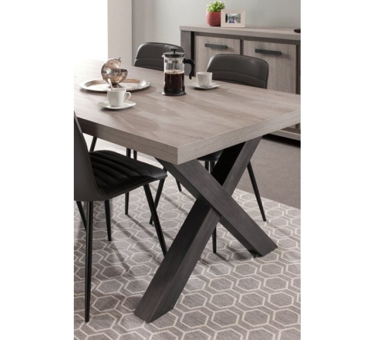 Table à manger chêne gris clair et anthracite contemporain ALTEO