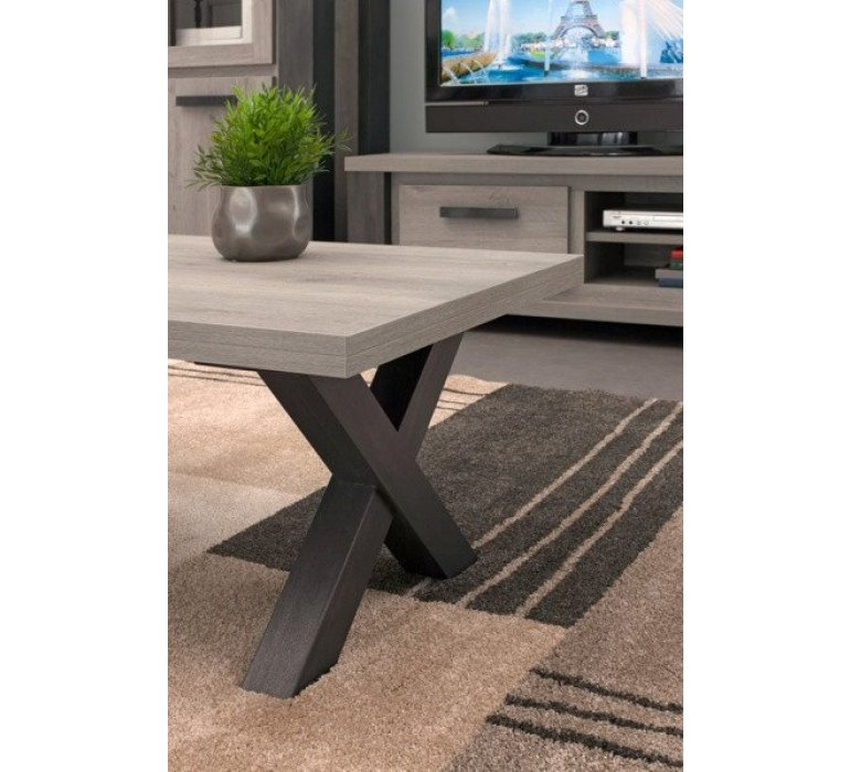 Table basse chêne gris clair et anthracite contemporain ALTEO