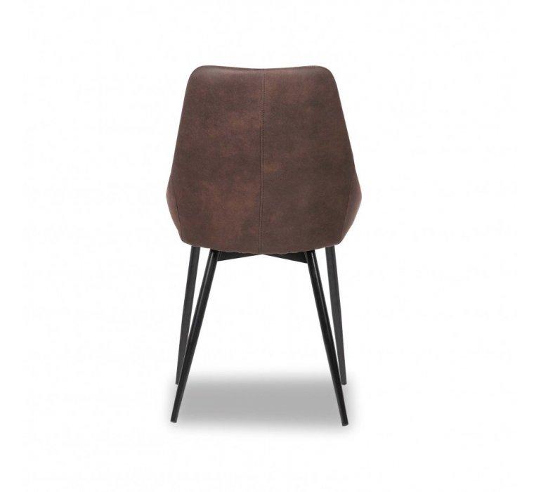 Chaise marron industrielle piétement métal noir SMITH