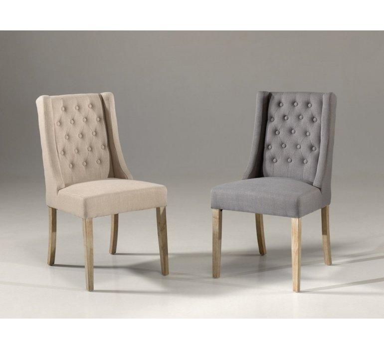 Chaise fauteuil capitonnée tissu sable ou gris CHARLOTTE