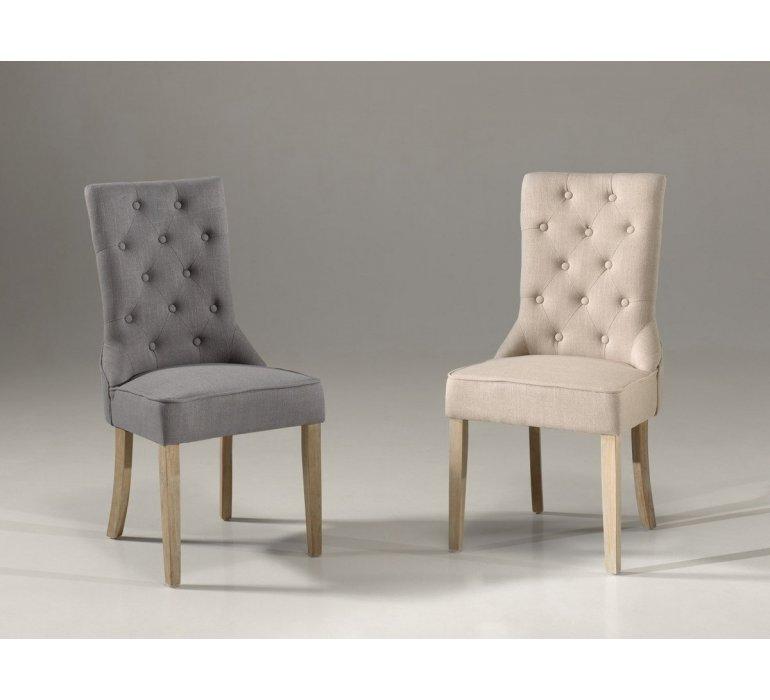 Chaise capitonnée tissu sable ou gris style charme ELOÏSE