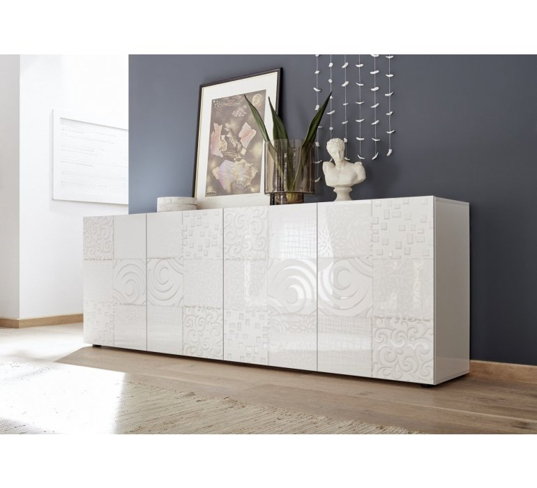 Salle à manger blanc laqué avec motifs design VINTIMILLE