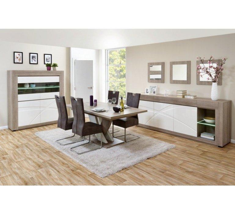 Salle à manger chêne gris et blanc laqué contemporain JANE