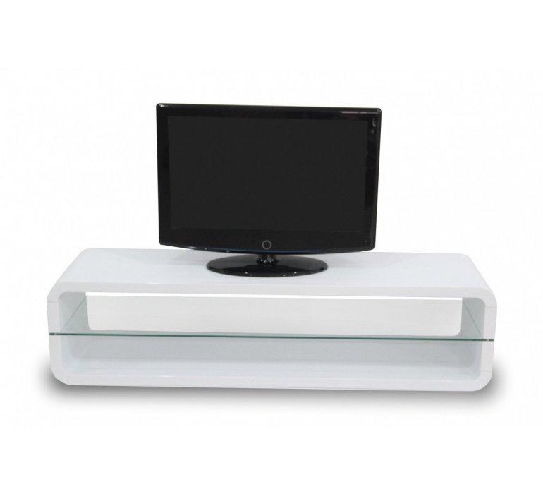 Banc TV blanc laqué et verre design AURORA