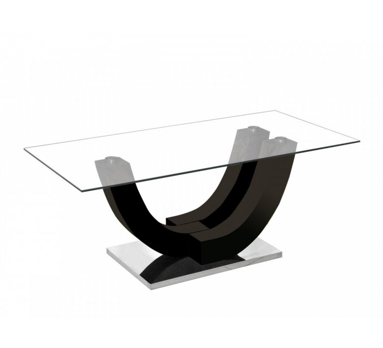 Table basse verre et noir design KLODIA