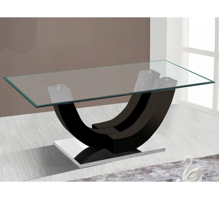 Table De Salon Design En Verre Et Coloris Noir Klodia 738