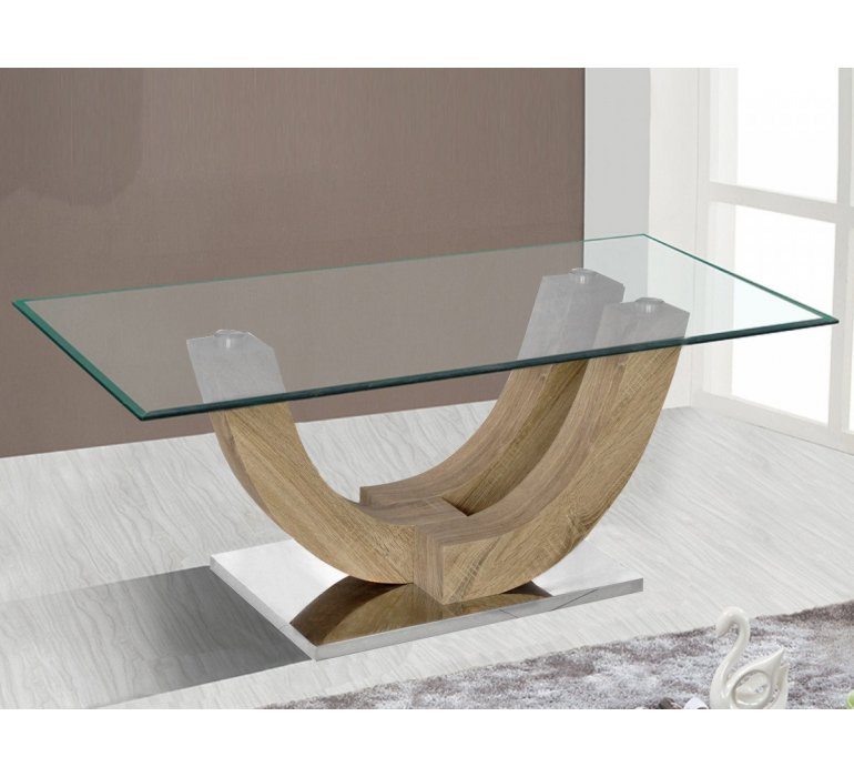Table basse verre et chêne vieilli moderne ALLYSON