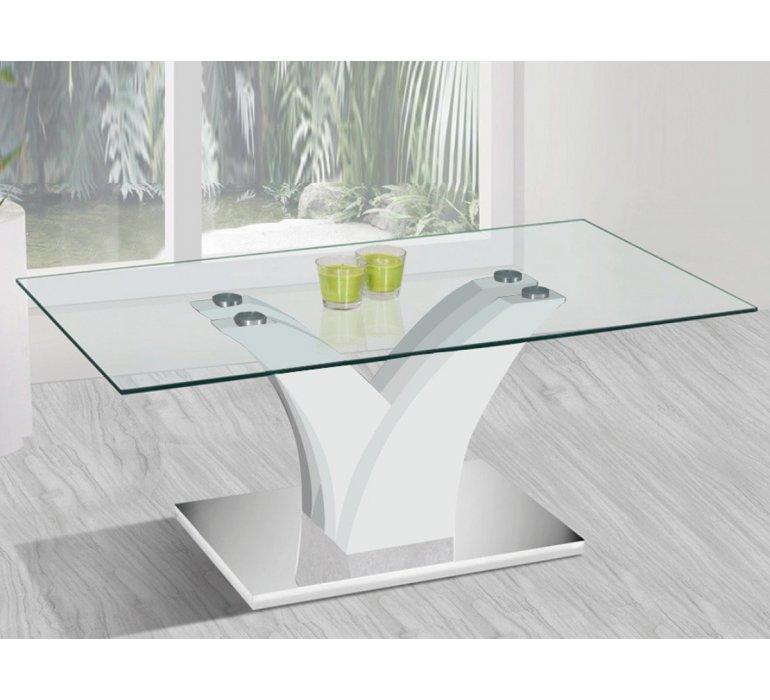 Table basse verre et blanc design KASSANDRA