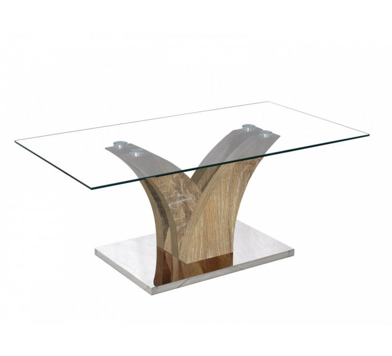 Table basse verre et chêne vieilli moderne CELIA