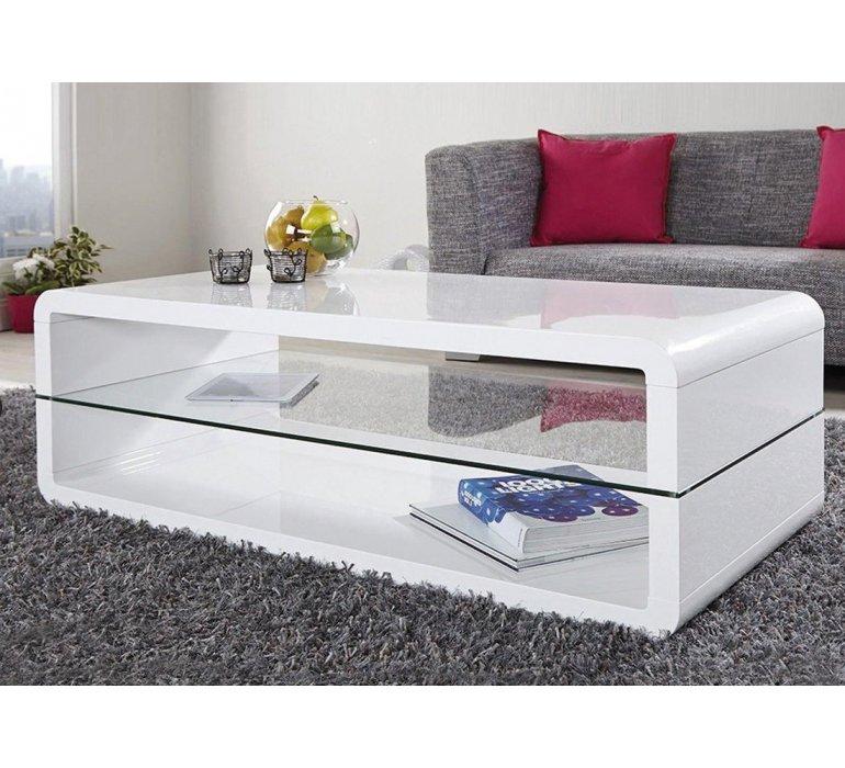 Table basse blanc laqué et verre design GIULIA