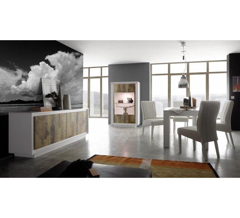 Salle à manger blanc laqué et effet bois vieilli moderne FAUVE