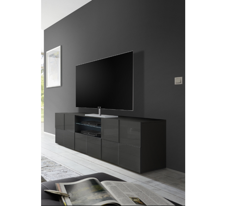 Banc TV anthracite laqué design ROMA