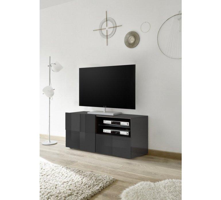 Meuble TV anthracite laqué design ROMA