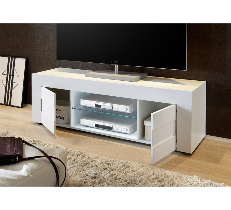 Banc TV blanc laqué et effet béton design JULIO